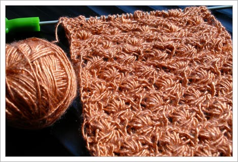 Knitting Sutra Wip Daisy Scarf In Debbie Bliss Pure Silk